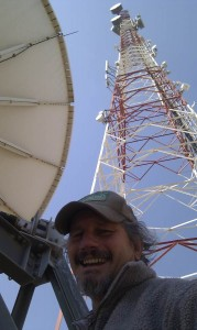 Dion at MTN Tower, with Satellite Dish