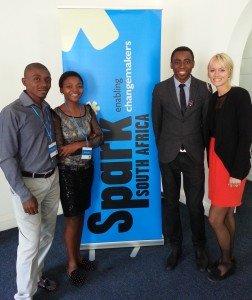 Changemakers Sonwabo Modimoeng, Ntsoaki Phali and Mwendeni Mafumo, with Spark International Co-founder and General Manager, Kaitlin Tait.